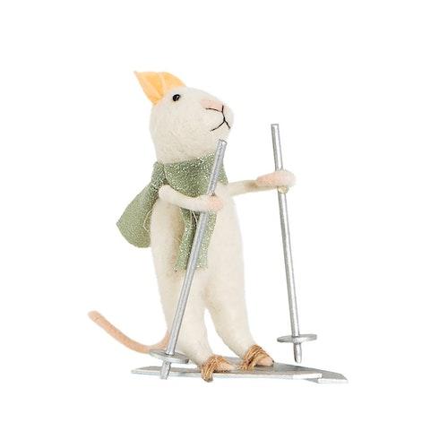 Juldekoration mus på skidor grå halsduk