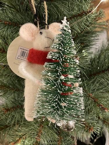 Juldekoration Mus med gran hängande