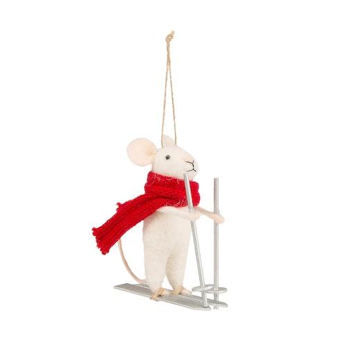 Juldekoration mus på skidor röd halsduk