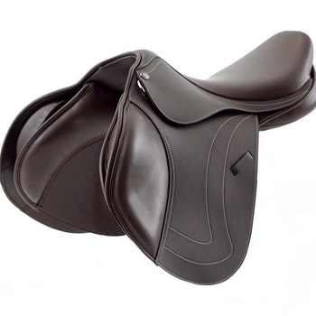 Prideaux Synthetic Close Contact Jump Saddle - Brown - Medium Gullet