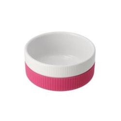 Skål keramik/soft silikon 300ml - rosa/hvit