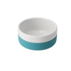 Skål keramik/soft silikon 300ml - turkis/hvit