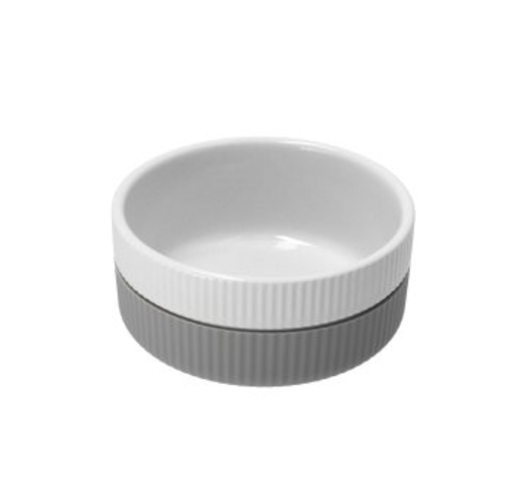 Skål keramik/soft silikon 300ml grå/hvit