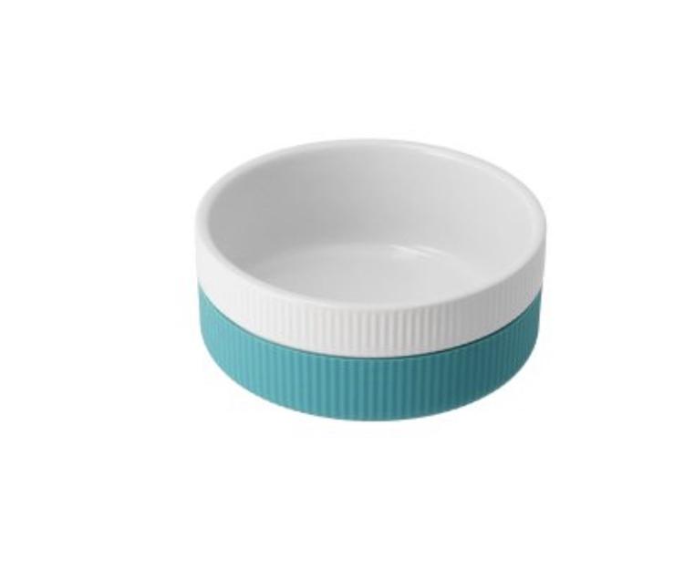 Skål keramik/soft silikon - turkis/hvit - stor