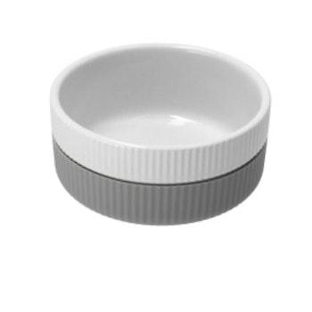 Skål keramik/soft silikon - grå/hvit - stor