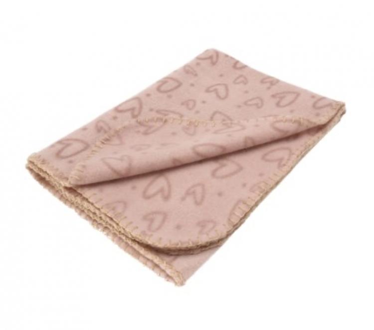 Fleeceteppe Hjerte rosa 100*70cm