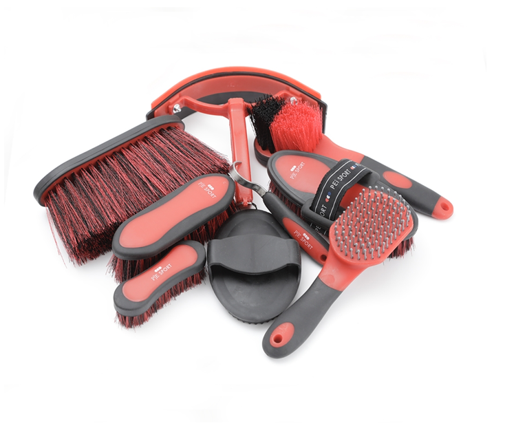 Deluxe Soft-Touch Grooming Kit Set in black and red