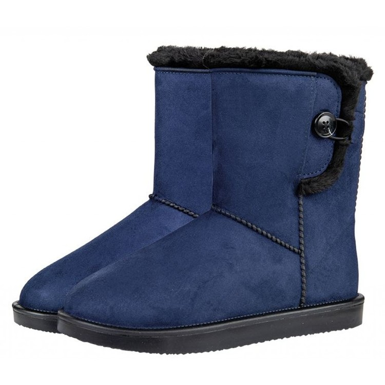 DAVOS NAVY - All-weather boots -Davos Button Fur-