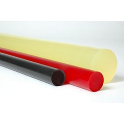 Massiv rundstav i polyuretan Gul  diameter 8mm, längd 100mm