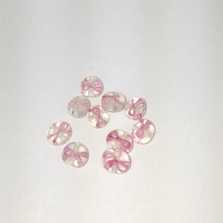 Rosa Bandet- Lampwork Clear med Rosa Band - 8st - 10mm