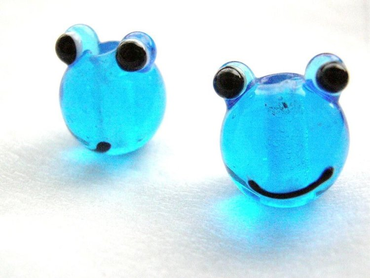 Lampwork - Glas Groda - Blå - 10st