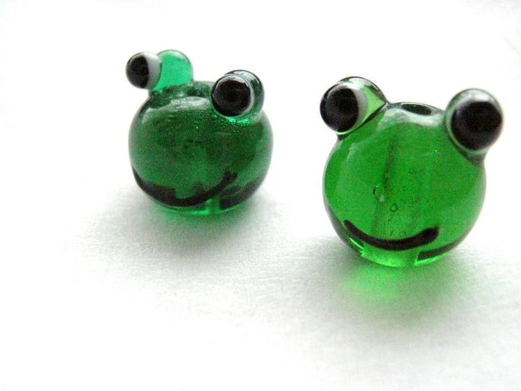 Lampwork - Glas Groda - Grön - 10st