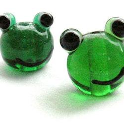 Lampwork - Glas Groda - Mörkgrön - 10st