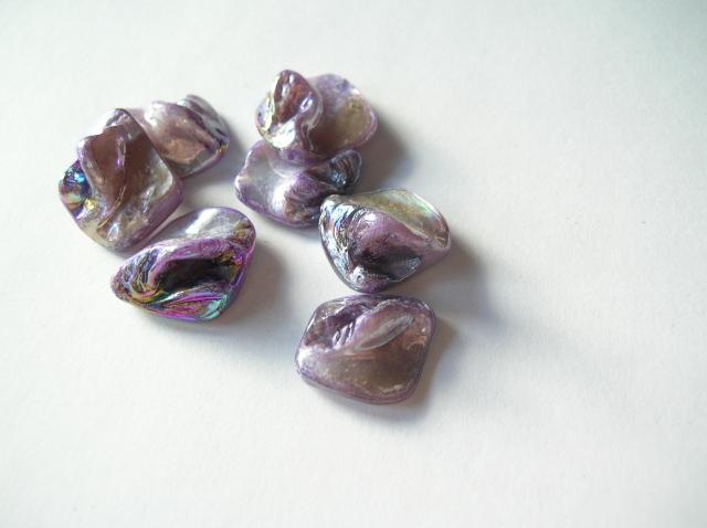 Snäckskalspärlor - Romb - Lila - 4st