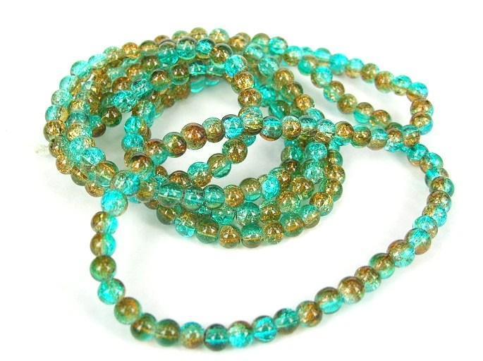Glaspärlor - Crackle beads - Duo - Aqua/Gul - 1sträng