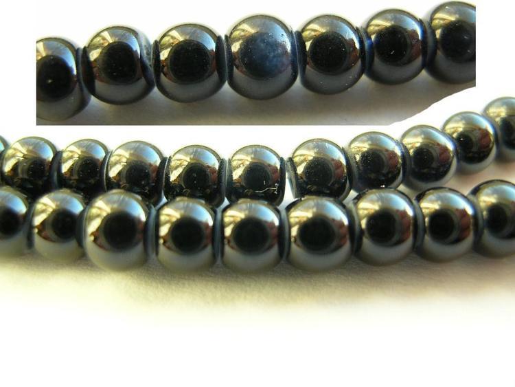 Glaspärlor - Crackle beads - Svart - 1sträng