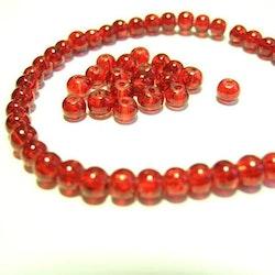 Glaspärlor - Crackle beads - Röd- 1sträng