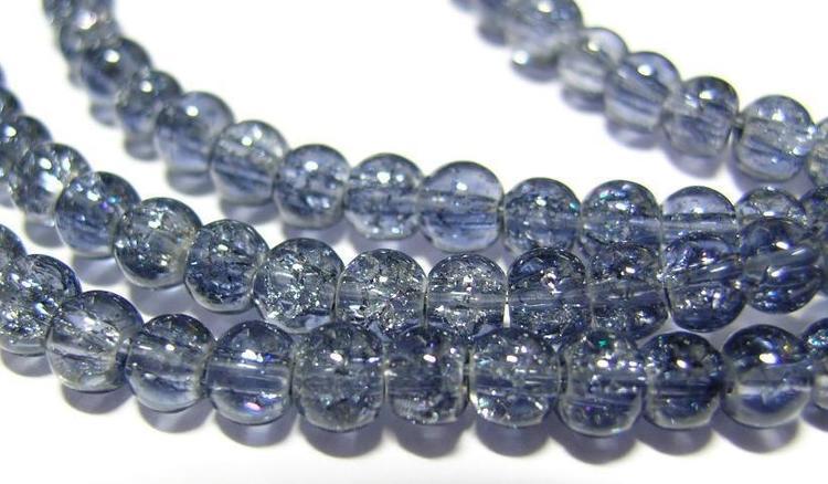 Glaspärlor - Crackle beads - Grå - 1sträng