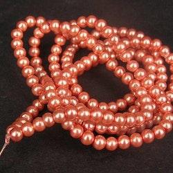 Romarpärlor - Vaxade Glaspärlor - Mörk aprikos - ca 4mm - 20st