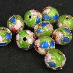 Cloisonne - Emaljerade pärlor - Ljusgrön - 12mm - 10st