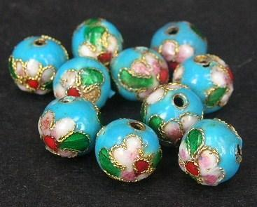Cloisonne - Emaljerade pärlor - Ljusblå - 12mm - 10st