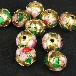 Cloisonne - Emaljerade pärlor - Guld - 12mm - 10st