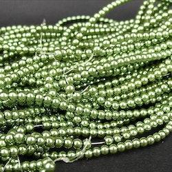 Romarpärlor - Vaxade Glaspärlor - Grön - ca 4mm - 20st