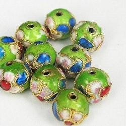 Cloisonne - Emaljerade pärlor - Ljusgrön - 8mm - 10st