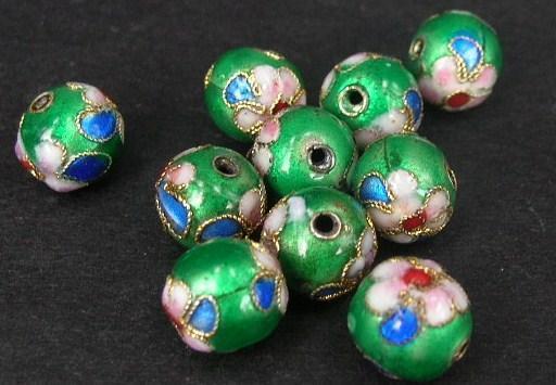 Cloisonne - Emaljerade pärlor - Mörkgrön - 8mm - 10st