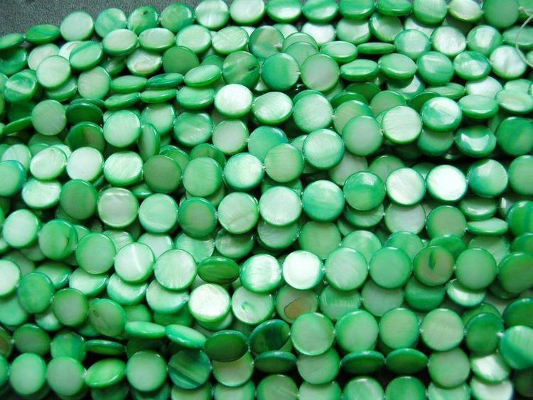 Snäckskalspärlor - Coin - Button - Ljusgrön - 11,5mm - 4st