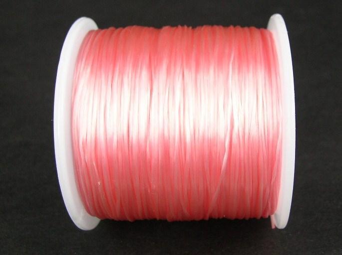 Elastisk tråd - Flat - Ljusrosa - 1st rulle 70m