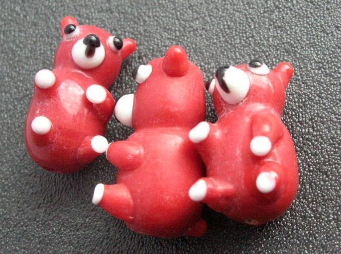 Lampwork - Björn - Handmade - Röd