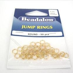 Jump Rings 6mm Guldpläterade 50st  BEADALON