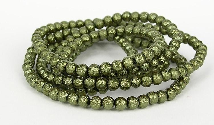 Strukturpärlor - Ispärlor - Glaspärlor - Grön - 1sträng