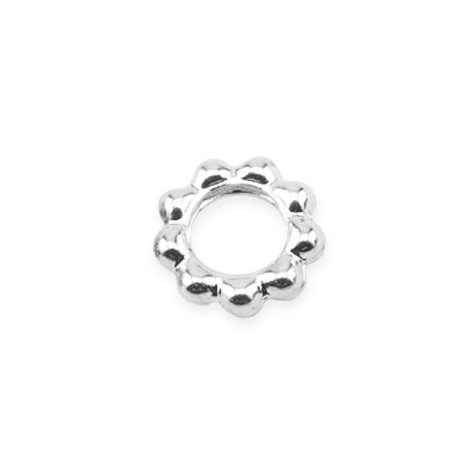 Solid Rings Beaded DAISY 6mm Silverpläterade 20st  BEADALON
