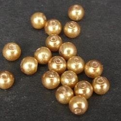 Romarpärlor - Vaxade glaspärlor - Guld - ca 4mm - 20st