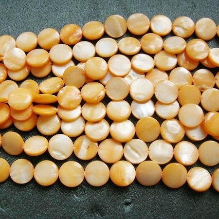 Snäckskalspärlor - Coin - Button - Ljus Aprikos - 11,5mm - 1sträng