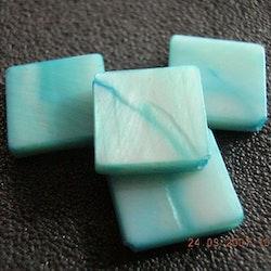 Snäckskalspärlor - Kvadrat - Blå - 10st
