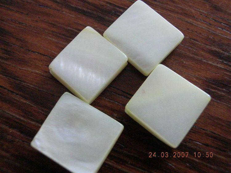 Snäckskalspärlor - Kvadrat - Vit - 10st