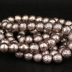 Strukturpärlor - Ispärlor - Glaspärlor - Ljus Lila - Ca 8mm - 10st