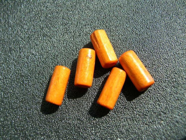 Träpärlor - Tuber - Orange - 10st