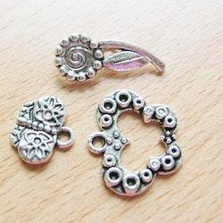 Toggle lås i tibet silver 3 delat fjäril