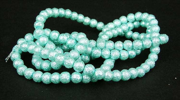 Strukturpärlor - Ispärlor - Glaspärlor - Turkos - 1sträng