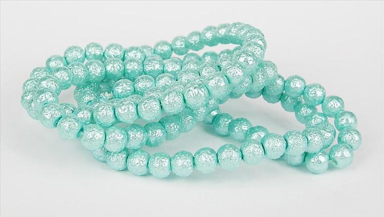 Strukturpärlor - Ispärlor - Glaspärlor - Turkos - 6mm - 10st