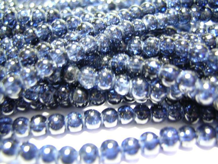 Glaspärlor - Crackle beads - Mörkblå - 20st