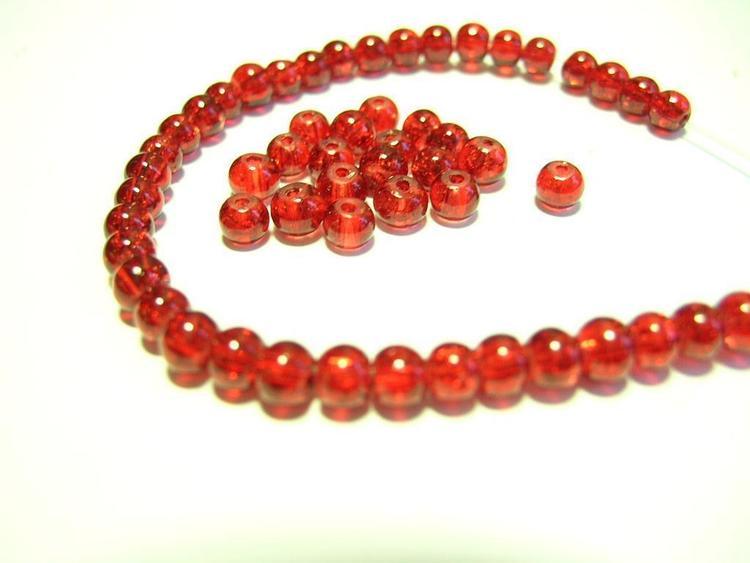 Glaspärlor - Crackle beads - Röd- 20st