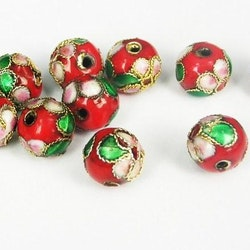 Cloisonne - Emaljerade pärlor - Röd - 10mm - 10st