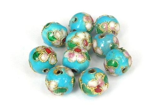 Cloisonne - Emaljerade pärlor - Ljusblå - 8mm - 10st