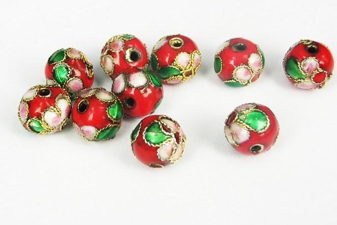 Cloisonne - Emaljerade pärlor - Röd - 8mm - 10st