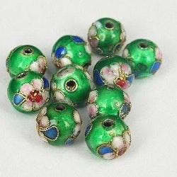 Cloisonne - Emaljerade pärlor - Mörkgrön - 10mm - 10st